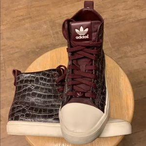 Adidas Hi Top Alligator Pattern Sneakers